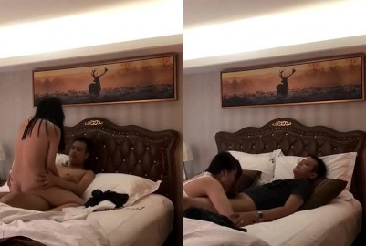 趁朋友喝醉帶他性感女友到酒店強舔女上位啪啪.